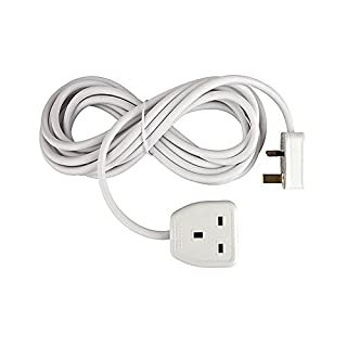 Invero® 1 Way Gang Single Socket Power Mains Extension Lead Cable 15M Metre British Approved 13A Amps - White