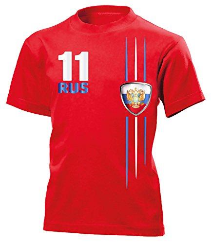 Russland Fan Streifen 4312 Fussball Kinder Kids Jungen Mädchen Unisex Fanshirt Shirt Tshirt Fanartikel Artikel T-Shirts Rot 140