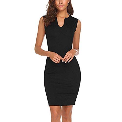 feiXIANG Sommer Frauen Kleider ärmellose Bodycon Ladies Evening Party Dress ärmelloses Kleid Rundhalsausschnitt Elegante Abendmode Mini-Kleid für Damen (S, Z/Schwarz)
