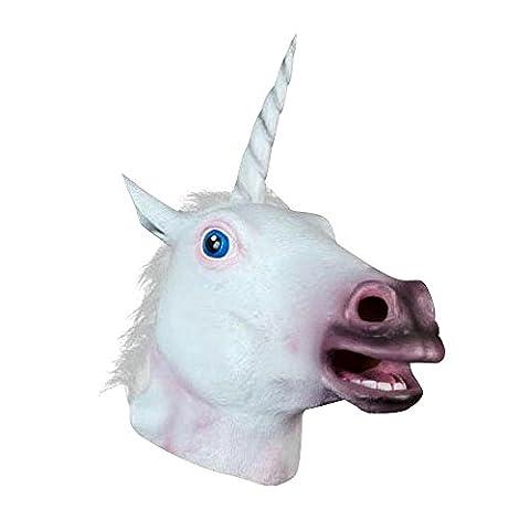JRing Unicorn Head Mask Cheval Latex pour Costume Fancy Dress Party Halloween, Creepy Adult Unicorn head latex Rubber Mask (Unicorno)