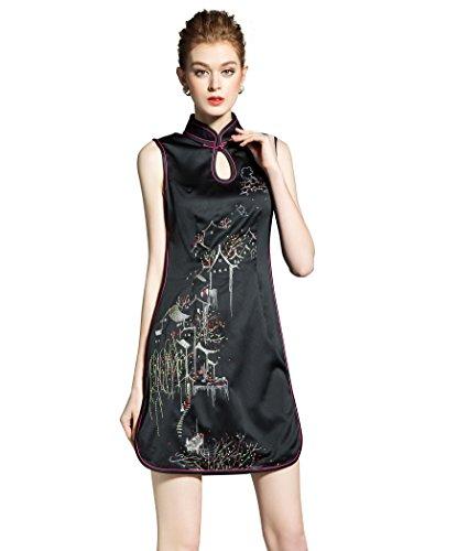 LAI MENG Vintage Damen Chinese cheongsam Kleid mit Ärmellos Bodycon Wickelkleid Pencil Kleider Cocktailkleid Schwarz