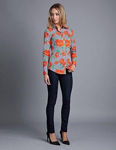 HAWES & CURTIS Femmes Chemisier Orange et Bleu Marine Floral Imprimé Coupe Cintrée - Poignet Simple Orange/Bleu Marine
