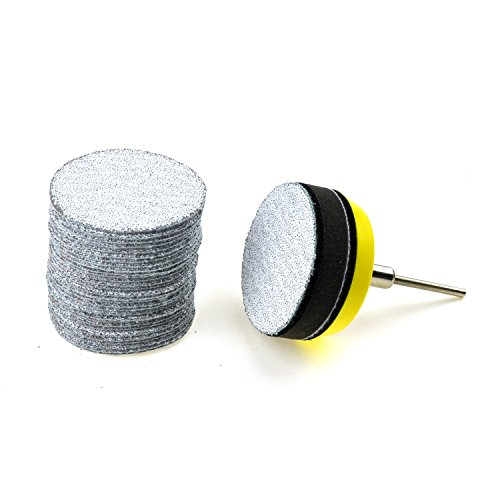 2 inches 60 Grit Aluminum Oxide Coarse White Dry Hook and Loop Sanding Discs with a 1/8 inch Shank Backing Pad + Soft Foam Buffering Pad, 30-Pack Test