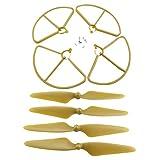 Sharplace 4x Elica Lima Propulsori Cw Ccw 4xCopertura Anello Di Protezione Guardie Per Propulsore Per Eliche Hubsan H501s Drone - Oro