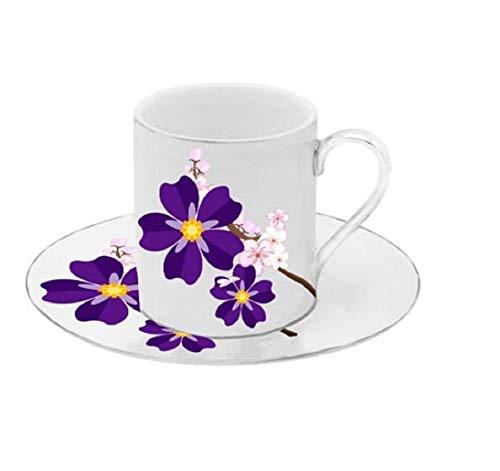 Floral Demitasse (Porzellan Porzellan Espresso Türkischer Kaffee Demitasse 6er Set Tassen + Untertassen (Violet Flowers))