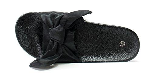 Unbekannt Flache Pantoletten mit Schleifen Gr. 38 Schwarz Schlappen klassischer Badeschuh Strandschuh