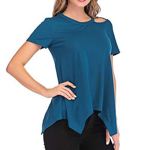 CAOQAO Damen lose rund Schulterfrei Saum unregelmäßig Oberteile lässig kurz Ärmel T-Shirts(XL,Blau)