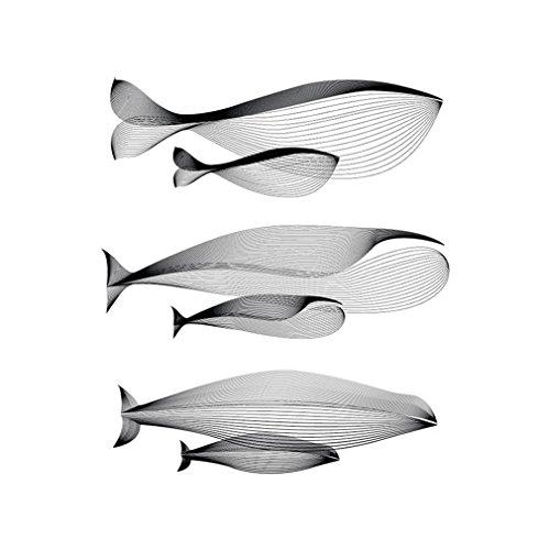 Beiguoxia sans cadre Nordic minimaliste abstrait Baleine sur toile Peinture murale Décoration de maison, Toile, noir/blanc, 50x70cm