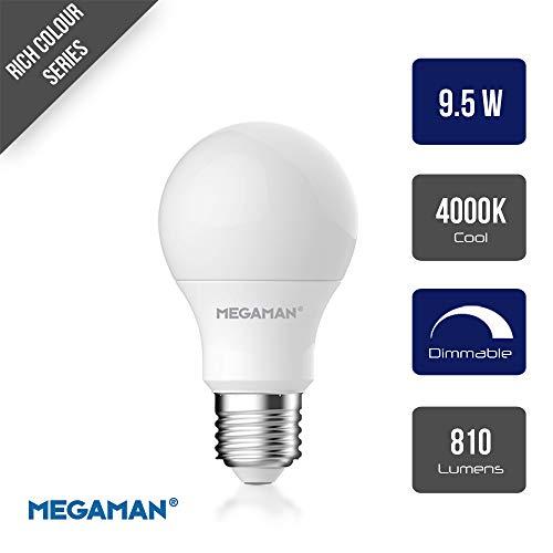 Megaman LED-Glühbirne 142578 dimmbar, RichColor R9 GLS Style, klassische Opal-Lampe, E27, Edison-Schraube, 4000 K, Kaltweiß, 9,5 W, 810 lm, A+ Bewertung, 25000 Stunden geschätzte Lebensdauer -