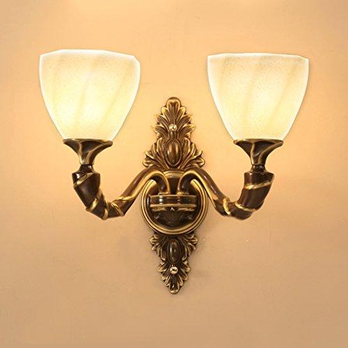 QFF Alle Bronze Wandleuchte American Style Wohnzimmer Wand Lampe Gang Lichter Schlafzimmer Nachttischlampe Alle Bronze Doppel Kopf Wand Lampe - Bronze Doppel-post
