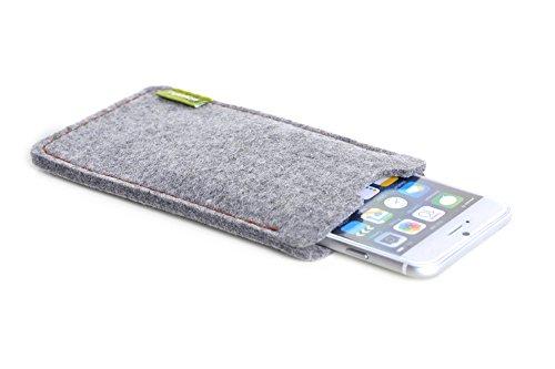 """ALMWILD® Hülle, Tasche für Apple iPhone 8, 7, 6 MIT Apple Leder Case / Silikon Case. Modell """"Dezenzi"""" in Alpstein- Grau. Handyhülle in Bayern handgefertigt. Hellgrau"""