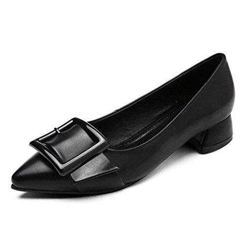 HWF Chaussures femme Printemps Chaussures plates Shallow Mouth Single Women's Shoes Pointu Boucle Carré Chaussures Décontractées Noir