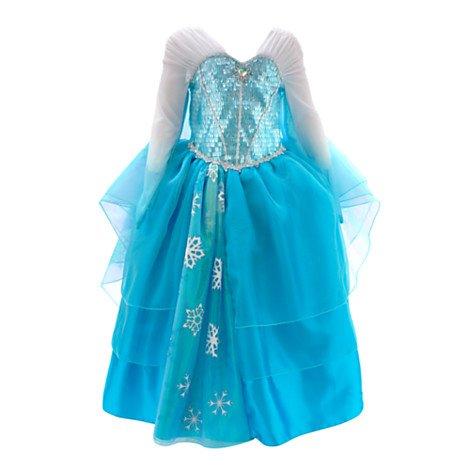 Die Eiskönigin - völlig unverfroren - Elsa Kostümkleid Deluxe für Kinder (Zum Deluxe-Design gehören Ärmel im Trompetenstil, ein Mieder mit Pailletten und ein schimmernder Tüllüberrock mit Schneeflocken aus Glitzer) (5-6 years)