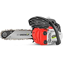 Greencut GS2500 12 GS250X-12 Tronçonneuse Thermique 25cc 1.4CV Guide 30cm, Orange, espalda 30 cm