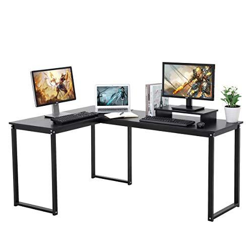 LASUAVY - Escritorio ordenador forma L negro