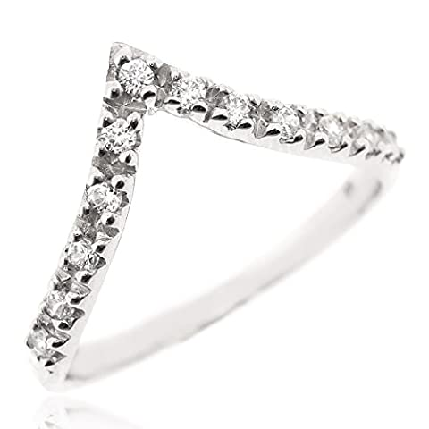 Sovats Chevron Thumb Ring For Women Set With White Cubic Zirconia 925 Sterling Silver Rhodium Plated - Simple, Stylish &Trendy Nickel Free Ring, Size