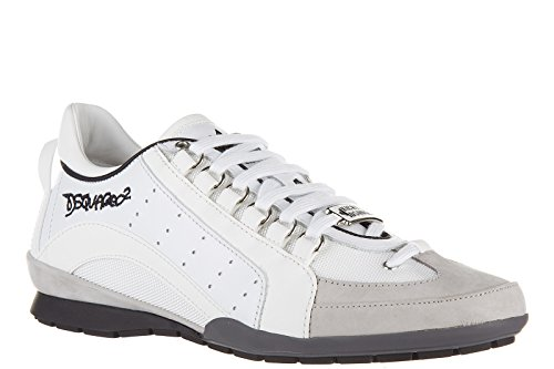 Dsquared2 chaussures baskets sneakers homme en cuir 551 blanc Blanc