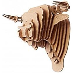 Escultura Para Pared Cabeza Animal Toro de Cartón, Puzzle 3D DIY Decoración Colgante