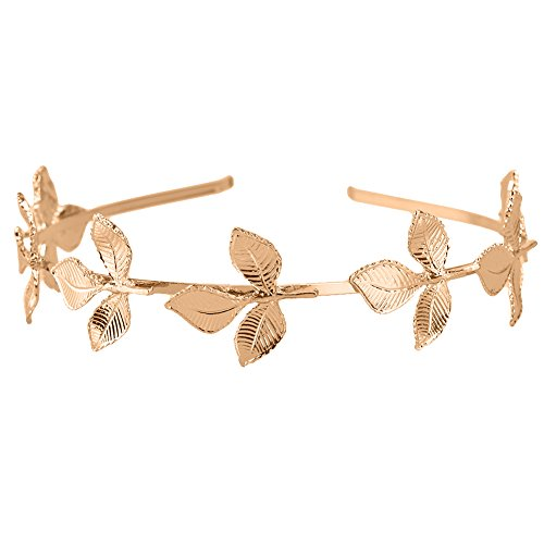 Damen Bands Hochzeit Gold (Pretty See Kristall Hochzeit Haarband römischen Göttin Leaf Branch Hair Band Haarschmuck Loop für Hochzeit, Nacht Aktivitäten, Fancy Kleid Ball, Cosplay Show und stammt, Gold)