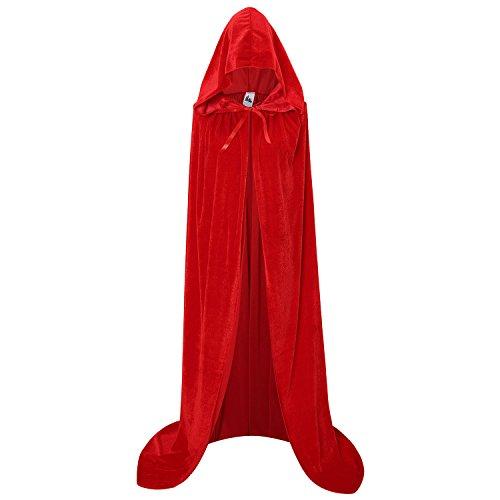 Samt Cape Kostüm Rote - makroyl Unisex Kapuzenumhang aus Samt für Halloween Weihnachten Cosplay Kostüm - Rot - X-Groß