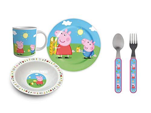Peppa Wutz Pig Geschirrset für Kinder (Besteck: 2 Teller, Tasse, Löffel, Gabel)