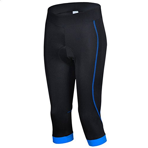 Damen Fahrradhose Capri-Hosen Atmungsaktiv Quick-Dry mit Sitzpolster Radlerhose (Blau, Tag L:EU M)