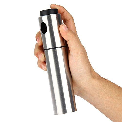 Silber Edelstahl Olivenöl Sprühen Öl Pfropfen Flasche Essig Paprika Spritze 135ml