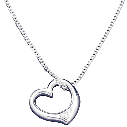 I Luv LTD Sterling Silver Necklace with Heart Charm with Inlayed Crystals Iluv Crystal