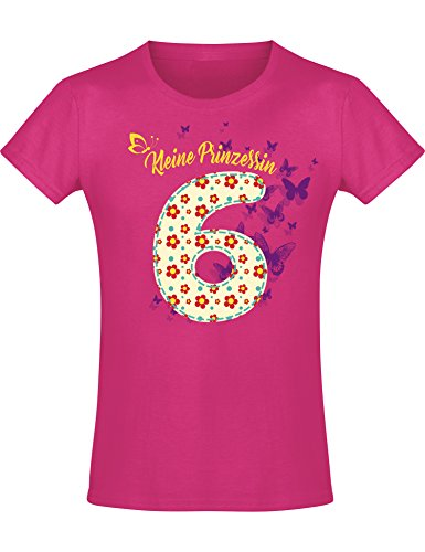 Shirt: 6 Jahre Blumen Kinder - Geburtstags T-Shirt 6 Jahre Kind Mädchen - Geschenk Zum 6. Geburtstag - Mädchen T-Shirt 6 Geburtstag - Geburtstag-Shirt Kinder 6 (116) -