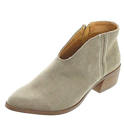 Sandalen Damen mit Absatz Leder 4 cm Blockabsatz Wildleder Geschlossene Schuhe Reissverschluss Sommer Frühling Grau 38 -
