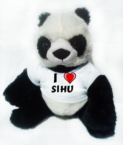 Plüscher Panda mit Ich liebe Sihu (Vorname/Zuname/Spitzname)