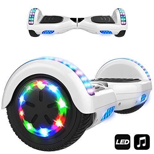 "MARKBOARD Elektro Scooter Hoverboard LED 6,5\"" E-Balance E-Skateboard Elektroroller 700W Motor Bluetooth (Weiß)"