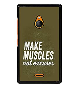 PrintVisa Designer Back Case Cover for Microsoft Lumia 540 Dual SIM (Quote Make Muscles Not Excuses)