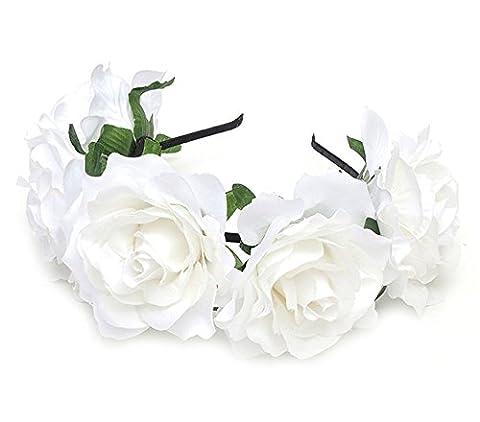 Cheerlife Rosen Blumen-Stirnband Blumenkranz Urlaub Hochzeit Festivals Haarkranz Blumenkrone (201# Weiß)