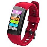 OOLIFENG Smart Watch Eingebaut GPS Mit Pulsmesser IP68 Wasserdicht Digital Sportuhr Fitness-Tracker Für Sport Im Freien,Red