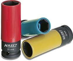 HAZET Steckschlüssel-Satz (1/2 Zoll (12,5 mm) Vierkantantrieb, mit Kunststoffhülse zum Schutz von Felgen, passende Schlüsselweiten für den Reifenwechsel) 903SPC/3