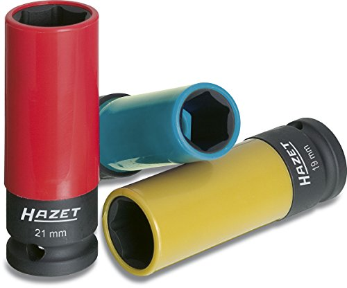 3 Eine Nuss (HAZET Steckschlüssel-Satz (1/2 Zoll (12,5 mm) Vierkantantrieb, mit Kunststoffhülse zum Schutz von Felgen, passende Schlüsselweiten für den Reifenwechsel) 903SPC/3)