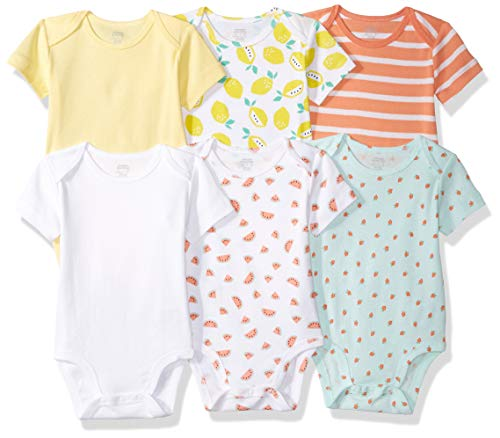 Amazon Essentials 6-Pack Short-Sleeve Bodysuit infant-and-toddler-layette-sets, Girl Fruit, 6-9M Baby Infant Bodysuit