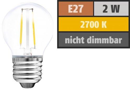 Preisvergleich Produktbild LED-Filament Globelampe,  E27,  2W,  210 lm,  warmweiß,  klar