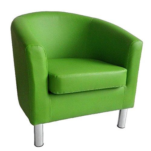 Poltrona di design a pozzetto in pelle per sala da pranzo, soggiorno,  ufficio, reception 66 x 68 x 72 cm Green