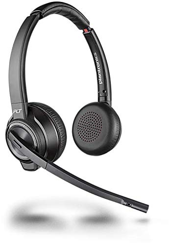 Plantronics Bluetooth DECT Headset Savi W8220-M Binaurale Tragevariante (mit USB); Microsoft Skype for Business zertifiziert in Schwarz Wireless Binaural Headset