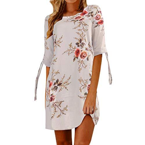 Pingtr - Frauen 3/4 Ärmeln Kleid - Frauen Blumendruck Bowknot Sleeves Cocktail Minikleid Lässiges Partykleid