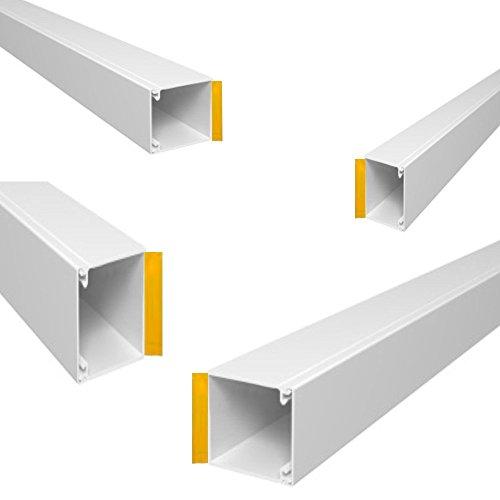 Wire4u - Canaleta blanca auto adhesiva de PVC para canalización de cables,...