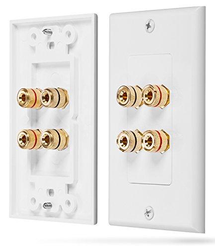 Fosmon [Zwei Lautsprecher] Home Theater Wandplatte - Premium Quality Gold Plated Kupfer-Banane Binding Post Coupler Type Wall Plate für 2 Lautsprecher (Weiß) -