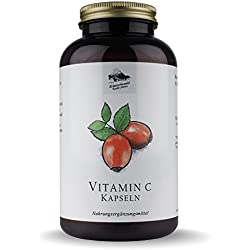 Vitamin C Kapseln • 480mg natürliches Vitamin C • naturbelassen aus Hagebutten • 300 Kapseln (5 Monatsvorrat) • Deutsche Premium Qualität • Kräuterhandel Sankt Anton