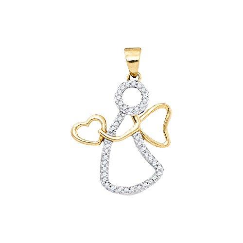 10Kt Gelb Gold Damen Diamant Rund Schutzengel Anhänger Herz 1/8Karat (KT Klarheit,-Farbe) Diamant-runder Anhänger