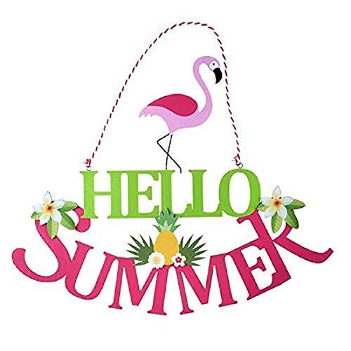 Holz-Schild/Tür-Schild/Wand-Bild Schriftzug Hello Summer Holz mit Flamingo Ananas & Blumen - Sommer-Deko Raum-Dekoration Cocktail-Bar-Deko Zubehör Wohnung-s-Dekoration -