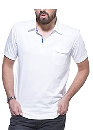 Zovi White Solid Polo T-Shirt With Pocket 10354409601XL