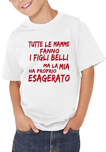 Fermento Italia T-Shirt Bambino Divertente Tutte Le Mamme Fanno I Figli Belli - Maglietta Umoristica 100% Cotone JHK (1 Anno, Bianco)