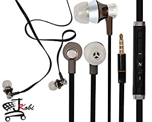 Jkobi Designer In Ear Bud Handsfree Headset Earphones With Mic Compatible For Huawei G7 Plus -Black